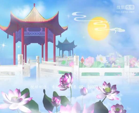 中国风水墨素材 中秋月亮嫦娥行宫中.