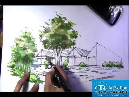 华侨大学考研建筑学考研快题设计--连体别墅手绘效果图1