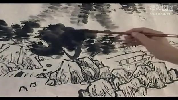 李颠焦墨山水画法视频山水画美术教学设计